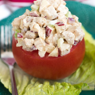 Cumin Chicken Salad Stuffed Tomatoes- delicious spiced chicken salad that can be enjoyed on bread, crackers or stuffed in an avocado, tomato or lettuce! #glutenfree | www.nutritiouseats.com
