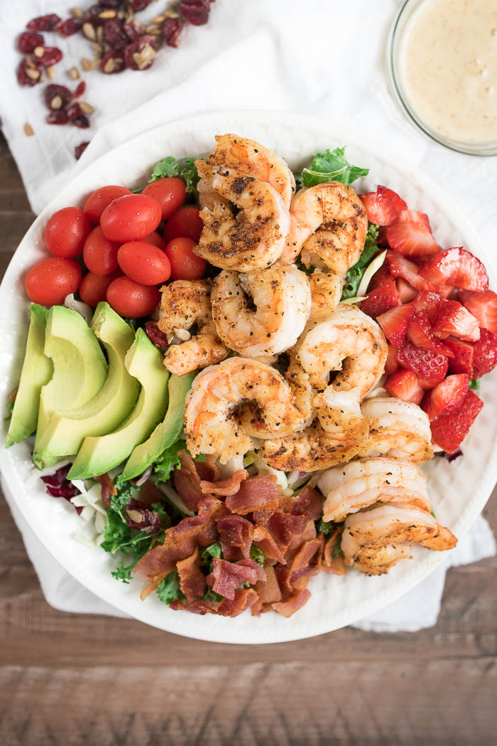 Chili Shrimp and Strawberry Salad with Honey Dijon Dressing- this simple, yet hearty salad is ready in under 15 minutes! #glutenfree #ad