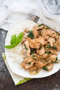 Spicy Thai Basil Chicken Over Jasmine Rice {Gluten Free}