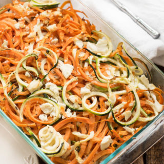 Coconut Spiralized Sweet Potato and Zucchini Bake with Goat Cheese- simple to prepare and great to pair with any protein #glutenfree and #Paleo friendly | www.nutritiouseats.com