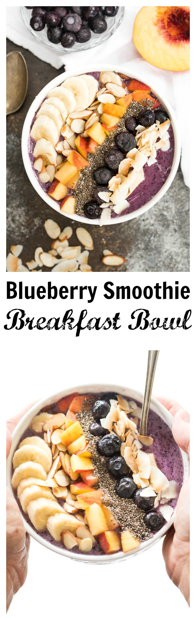 Blueberry Smoothie Breakfast Bowl- a delicious and nourishing bowl that is gluten free, plant based and great for any meal! #ad | www.nutritiouseats.com