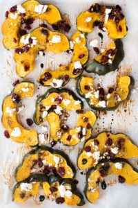 Roasted Acorn Squash with Cranberries, Goat Cheese and Balsamic Glaze