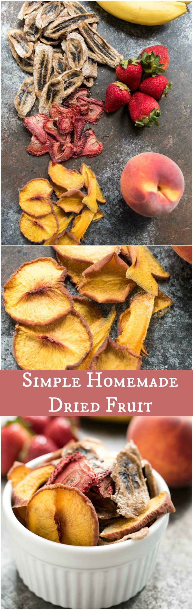 Simple Homemade Dried Fruit- all you need is fresh fruit and a low oven setting to make this no sugar added dried fruit! | www.nutritiouseats.com