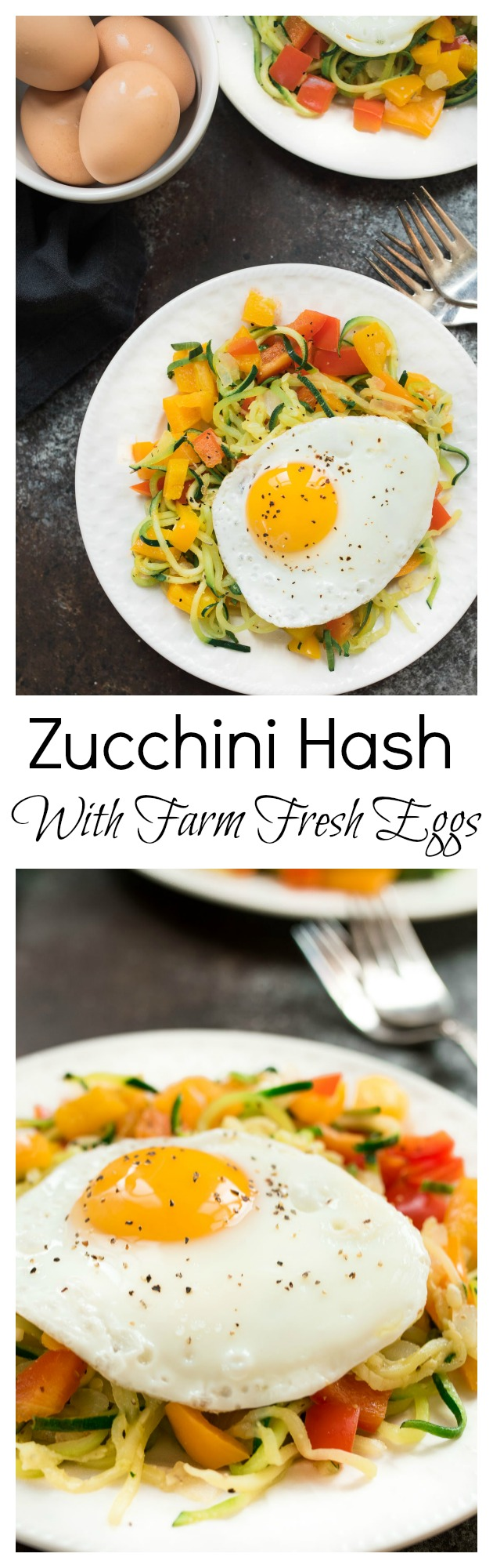 Zucchini Hash With Farm Fresh Eggs- super simple and highly nutritious breakfast! #glutenfree | www.nutritiouseats.com