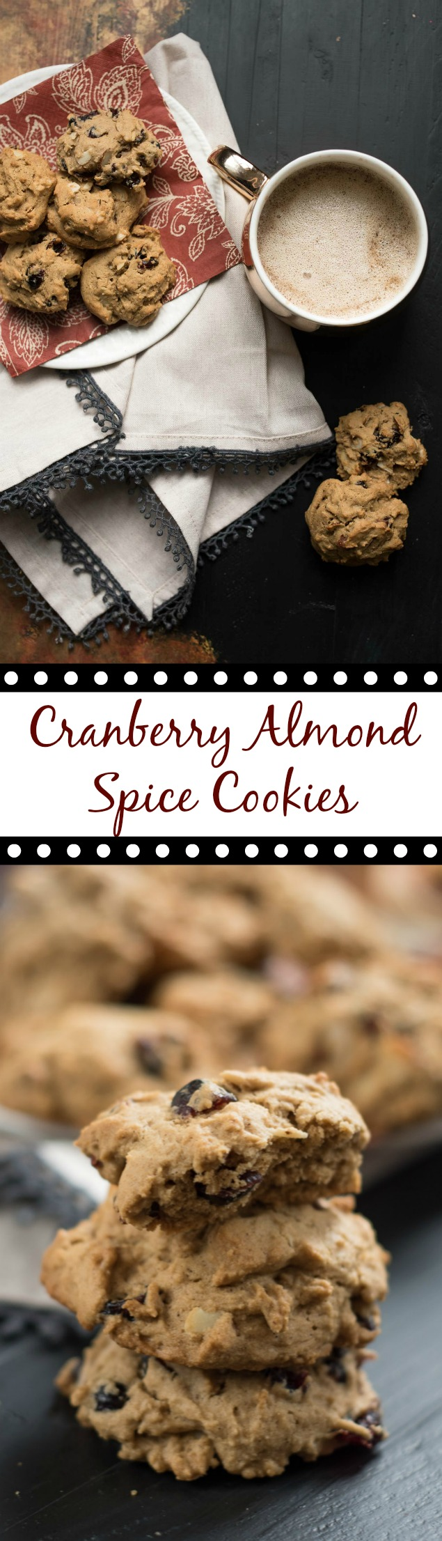 Cranberry Almond Spice Cookies- the perfect spiced cookie to dunk in your coffee. Not too sweet, but tons of flavor! #ad | www.nutritiouseats.com