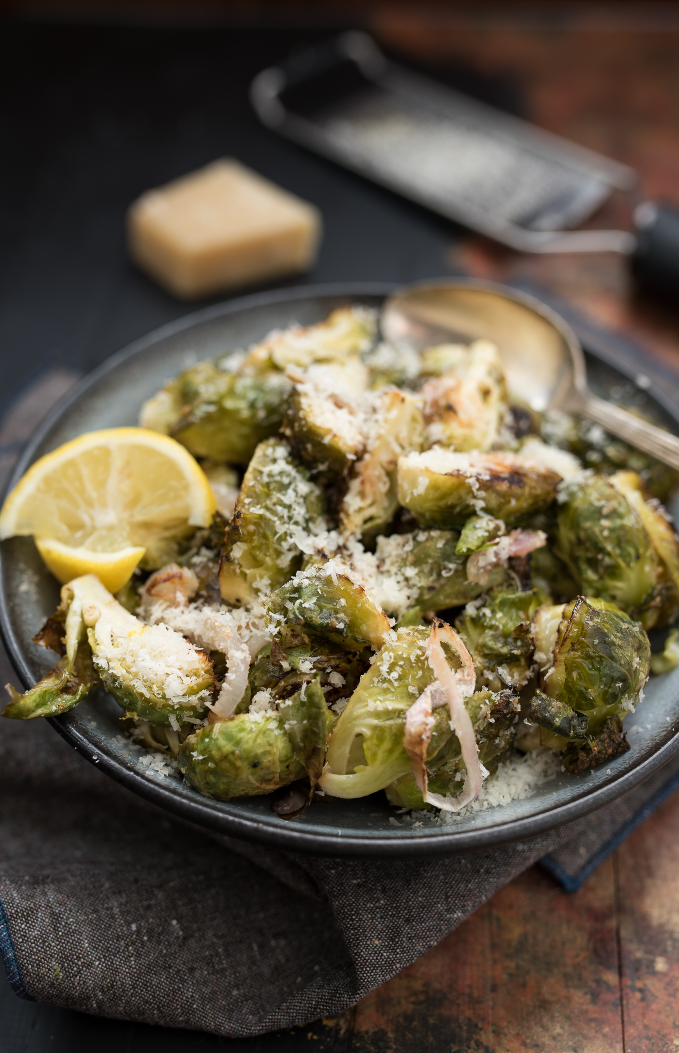 Parmesan Lemon Brussels Sprouts with Shallots are a gluten-free, low calorie, healthy side that work well with a variety of main dishes.