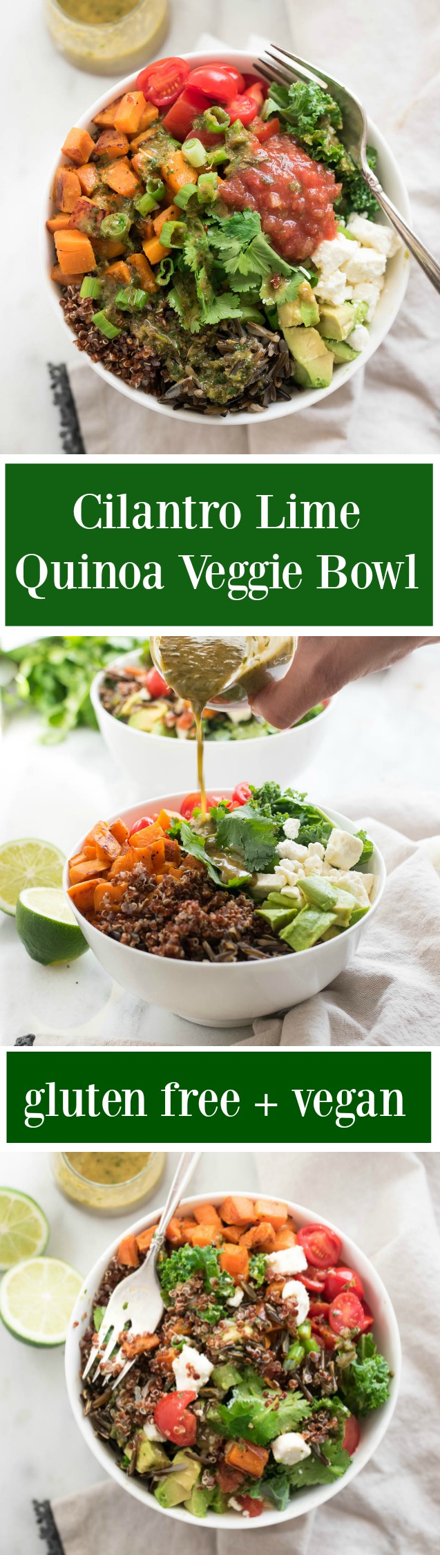 Cilantro Lime Quinoa Veggie Bowl is a protein and nutrient packed vegan and gluten free meal that works great for lunches throughout the week!