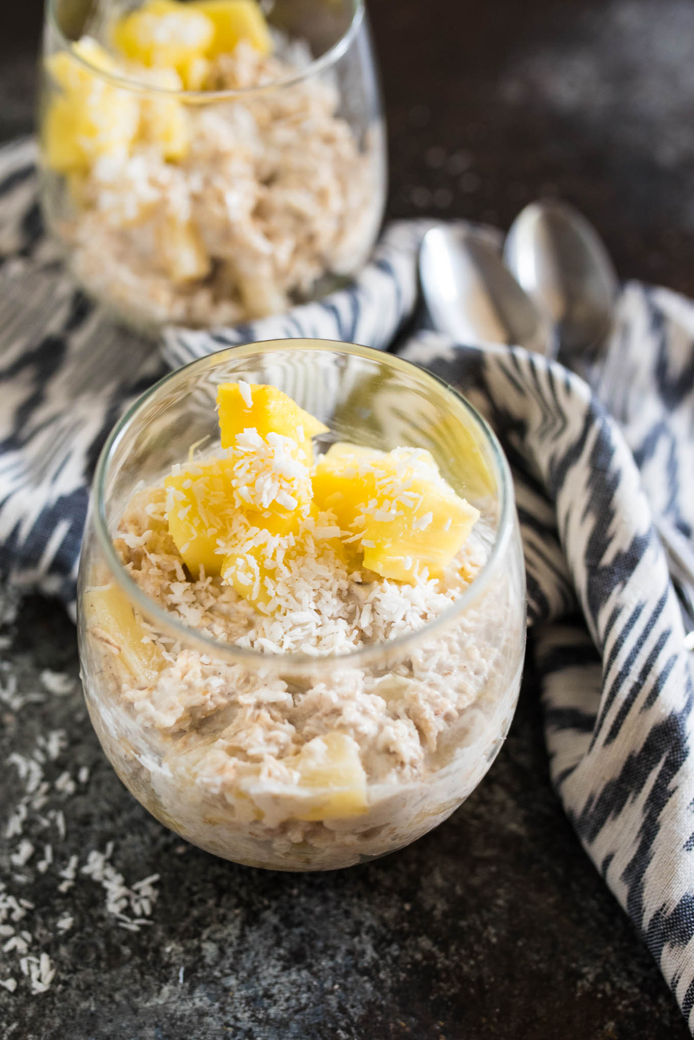 Pineapple Coconut Overnight Oats are a simple, make-ahead breakfast that will provide you with long lasting balanced nutrition!