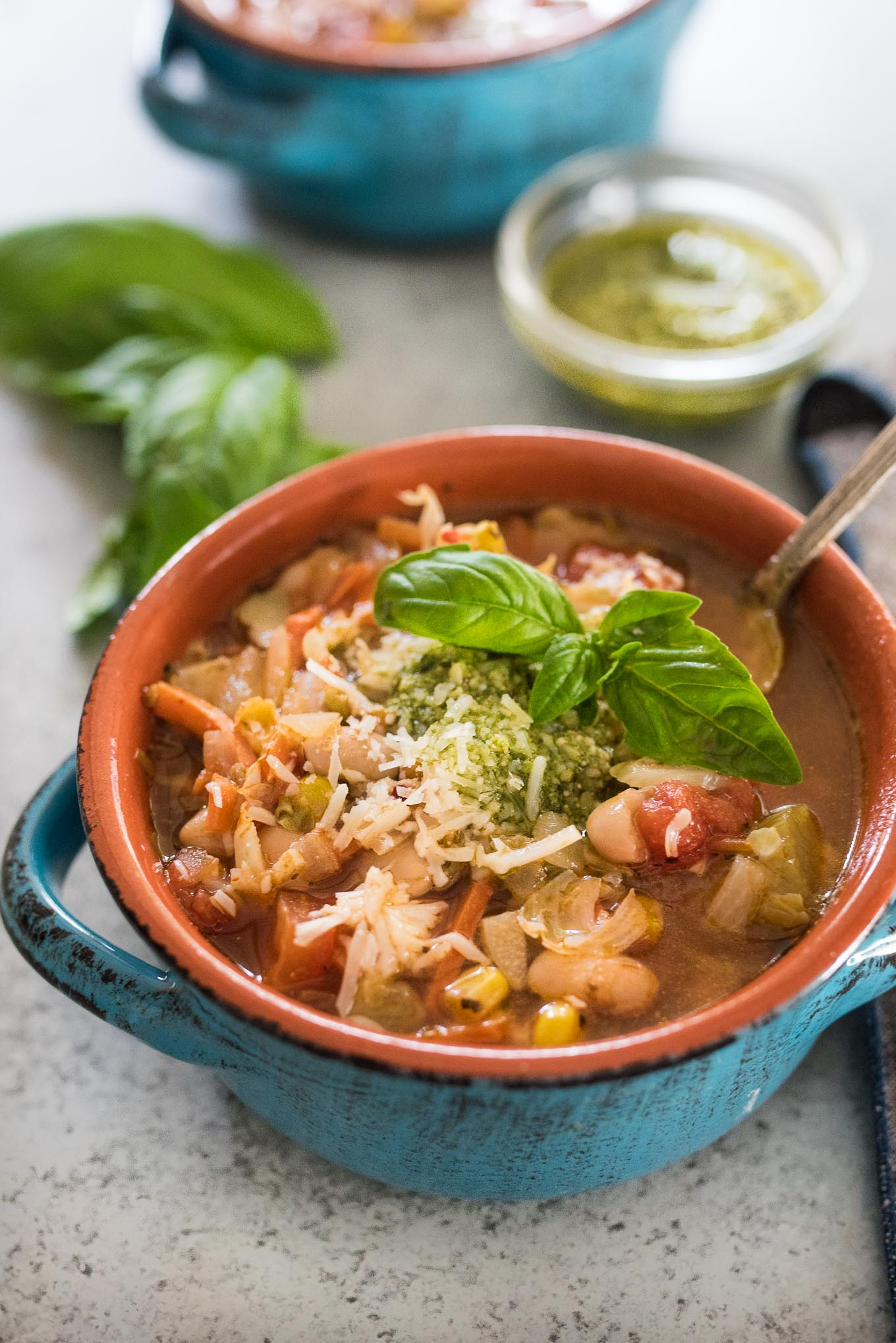 Quick and Easy Vegetable Soup with Pesto will nourish you from the inside out and will use up all those last bits of vegetables reducing waste in your kitchen.