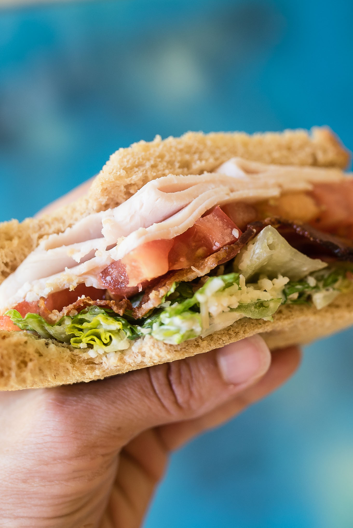 Turkey Caesar BLT Sandwiches are simple to prepare and great to pack for a dinner at the pool or a family picnic.