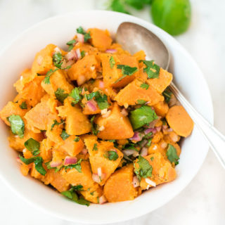 Cilantro Lime Sweet Potato Salad is bursting with flavor from the sweet potatoes and the garlicky and citrus dressing- it's a match made in heaven!
