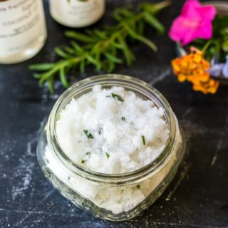DIY Salt Scrub with coconut oil takes minutes to make and will leave your skin feeling exfoliated and super soft!
