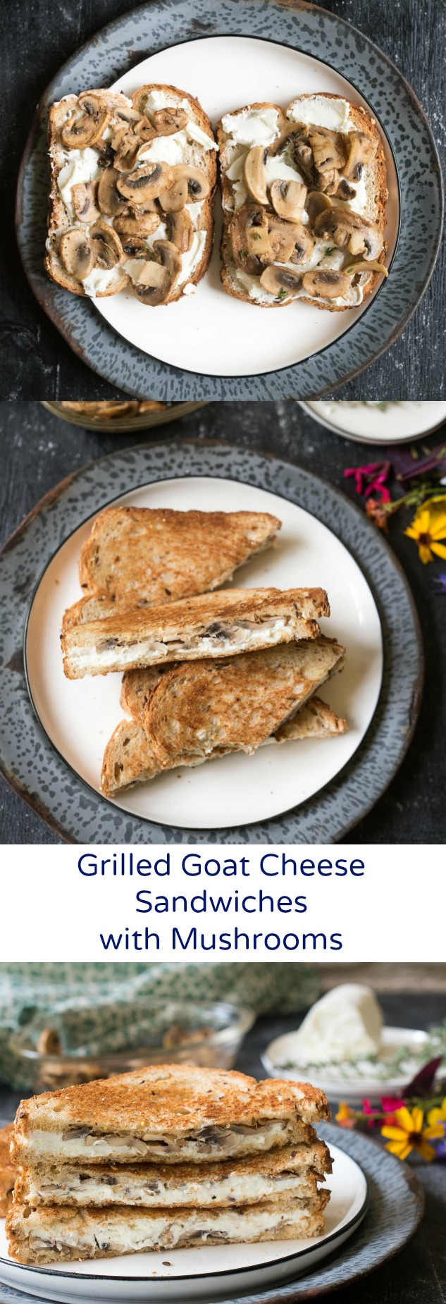 Grilled Goat Cheese Sandwiches with Mushrooms are simple yet gourmet, perfect for when you want grown-up flavors in a classic sandwich for any meal of the day.