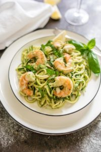 Creamy Basil Zucchini Noodles with Shrimp