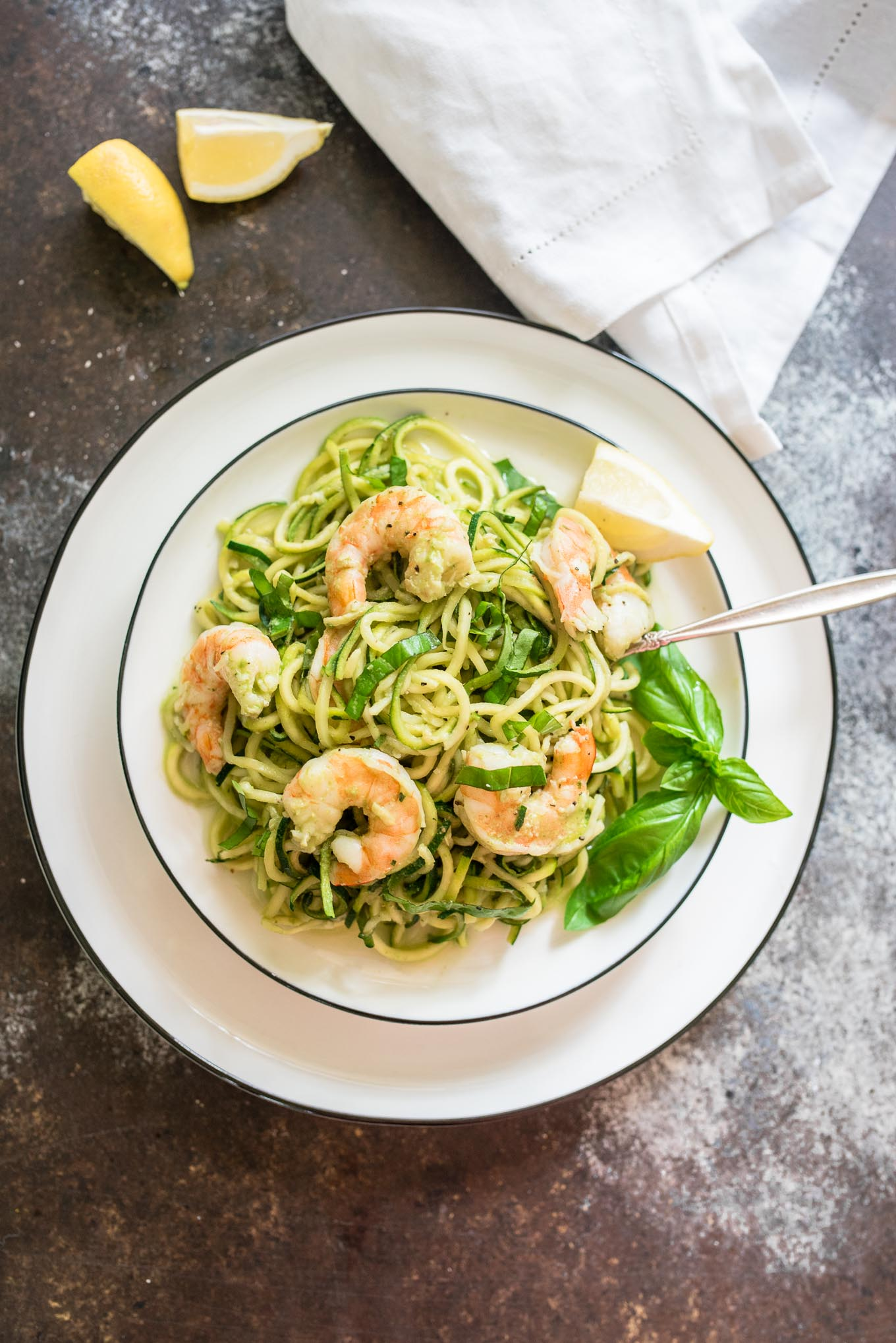 Creamy Basil Zucchini Noodles with Shrimp is a light and healthy dish, naturally gluten free, perfect for those light summer meals.