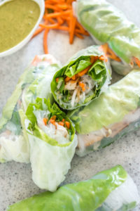 Turkey Summer Rolls With Cilantro Peanut Dipping Sauce