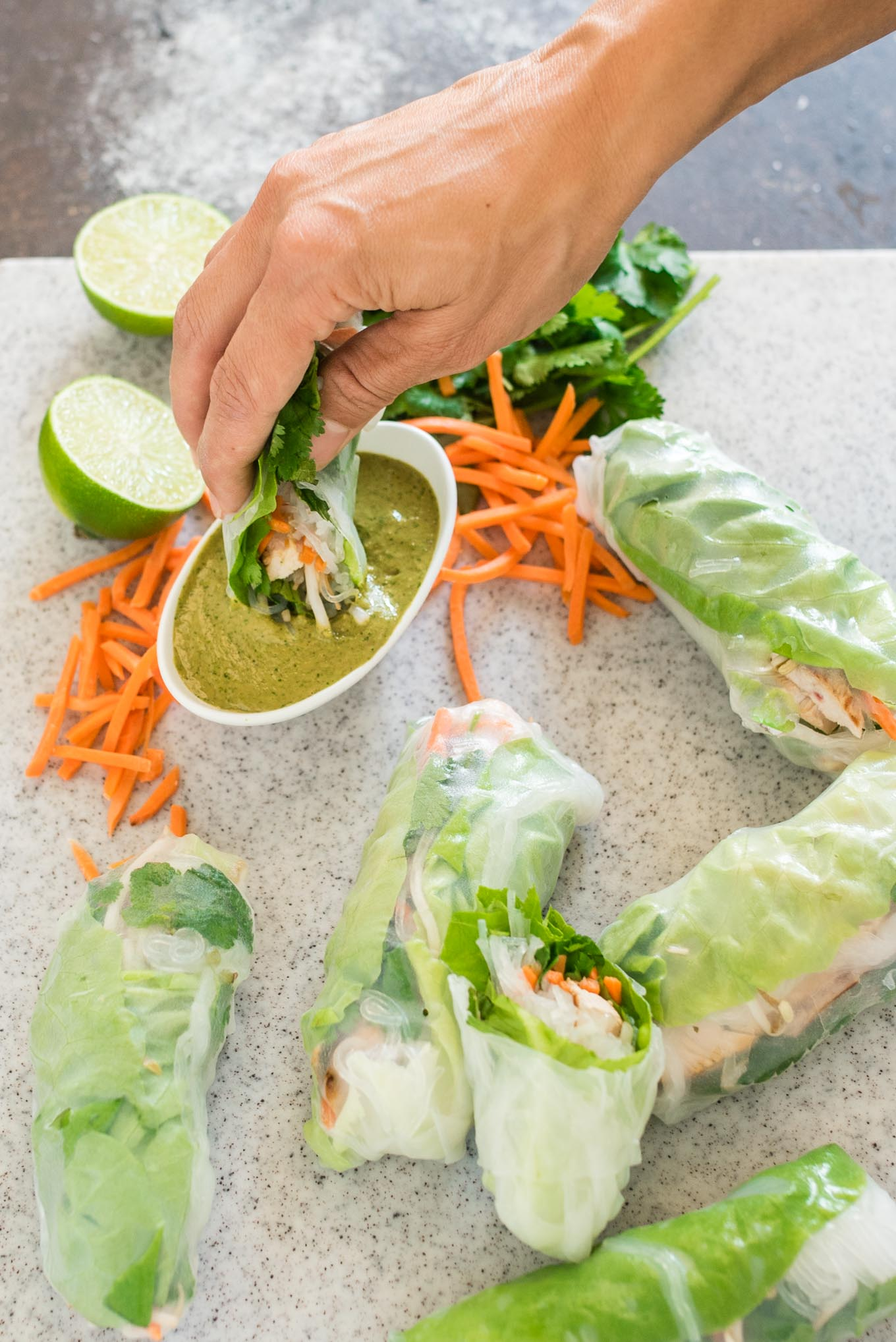Turkey Summer Rolls with Cilantro Peanut Dipping Sauce are like a salad meets juicy grilled strips of turkey rolled up into one fresh and healthy roll.