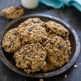 Lunch Box Cookies are both nutritious and and delicious, a hearty soft cookie packed with oats, chocolate chips and cranberries and minimal amounts of sugar and oil.