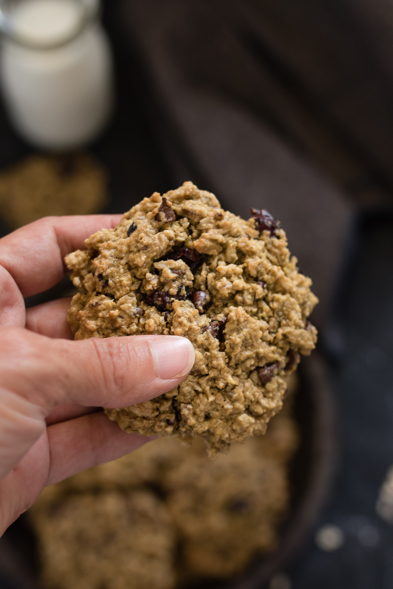 Lunch Box Cookies are both nutritious and delicious- a hearty soft cookie packed with oats, chocolate chips, cranberries, cocoa nibs and reduced amounts of sugar and oil.