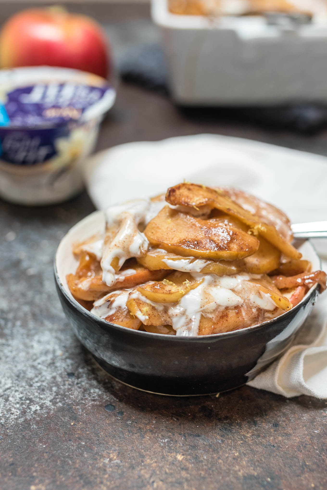 Cinnamon Baked Apples with Yogurt satisfies that apple pie sweet tooth while being a healthier option with fewer calories.