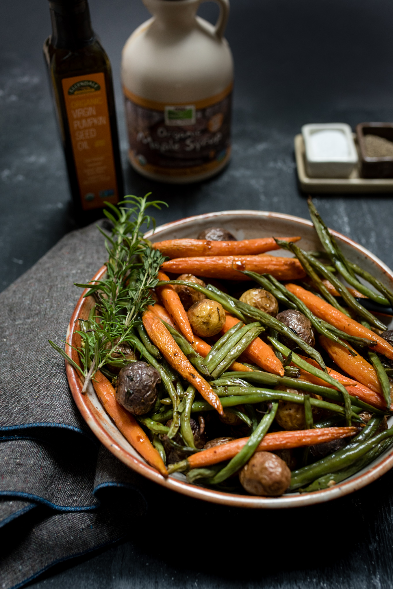 Herb Roasted Potatoes and Vegetables with Pumpkin Seed Vinaigrette, easy to make and naturally gluten free, great to serve along with roast beef, lamb, fish or to add to your vegetarian menu.
