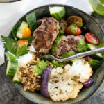 This Beef and Grain Kofta bowl takes Middle Eastern inspired meatballs and pairs them with a hearty flavorful grain and some veggies for a nutrition packed meal!