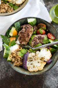 Beef and Grain Kofta Bowl with Herb Sauce