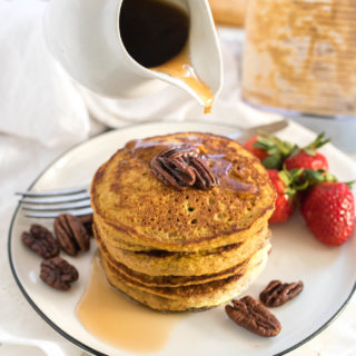 Sweet Potato Oat Blender Pancakes are easy to make (just dump and blend) and are as nutritious as they are tasty.