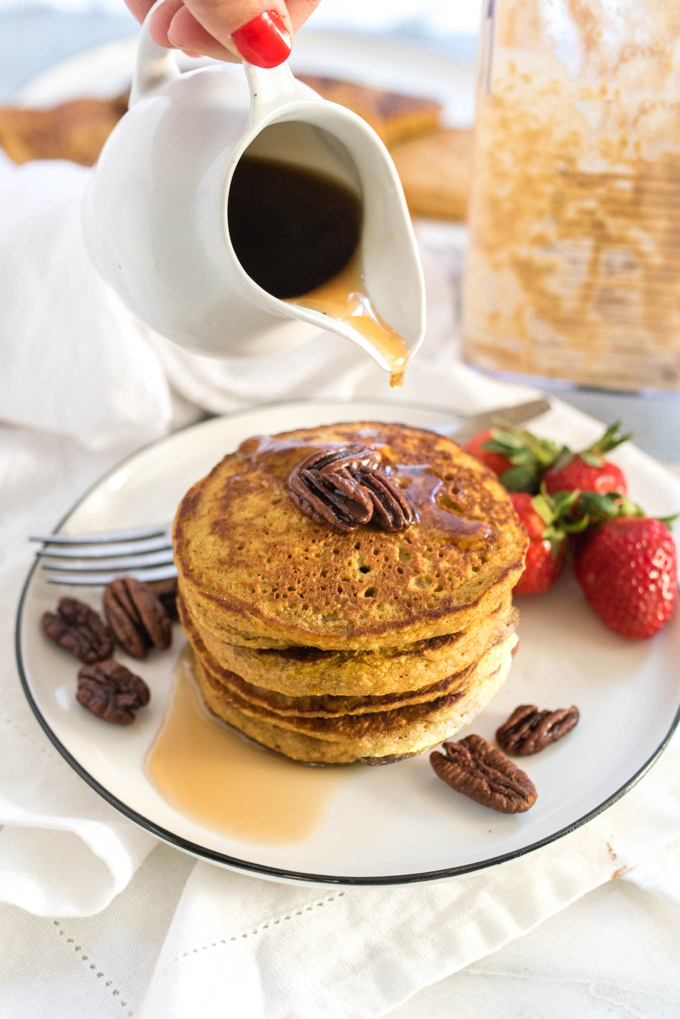 Sweet Potato Oatmeal Blender Pancakes