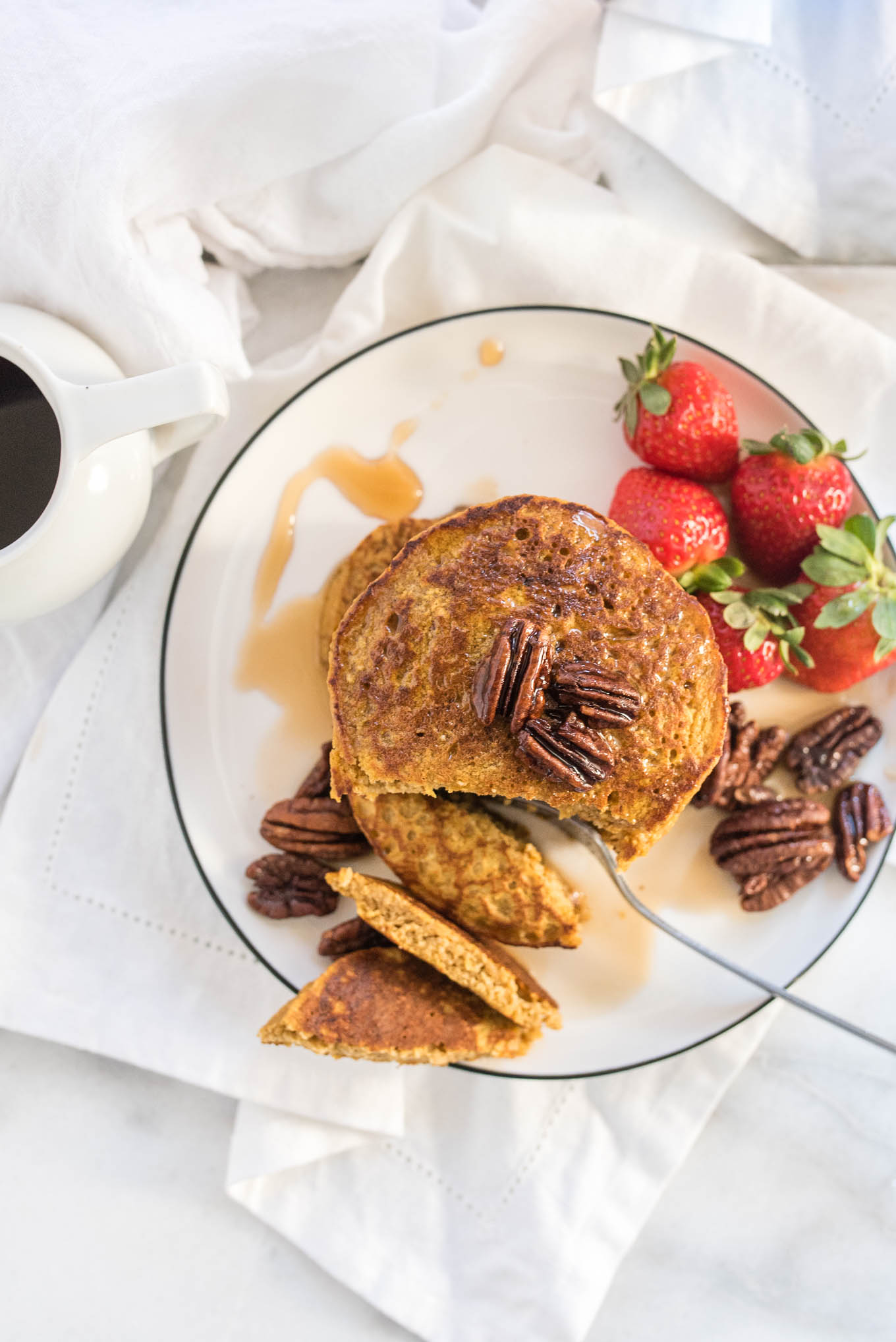 Sweet Potato Oat Blender Pancakes are made right in your blender and full of whole foods, nutritious ingredients.