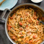 One Pot Creamy Vegetable Spaghetti is a gluten free, veggie packed meal that is all cooked in the same pan!