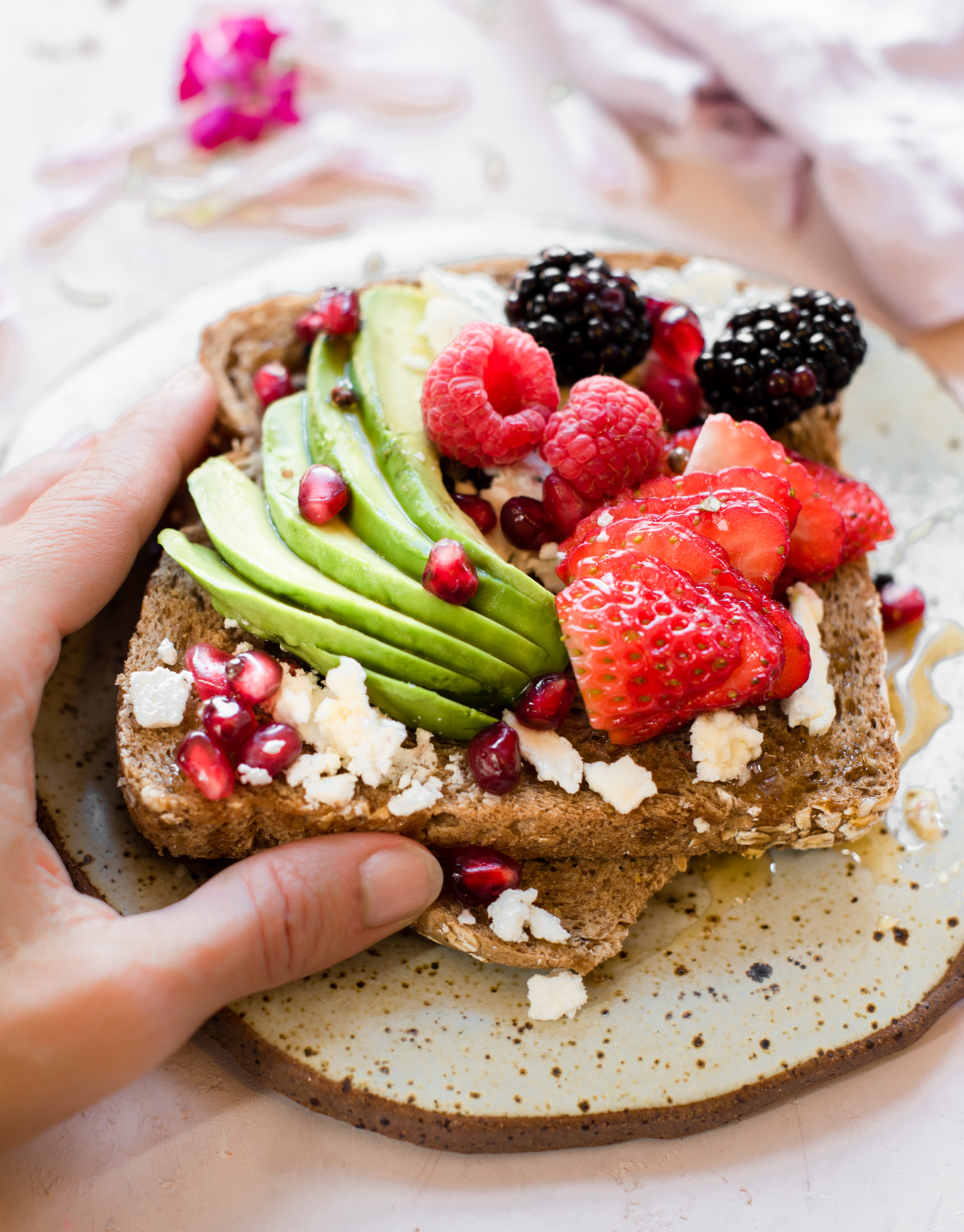 avocado goat cheese toast with berries two ways nutritious eats