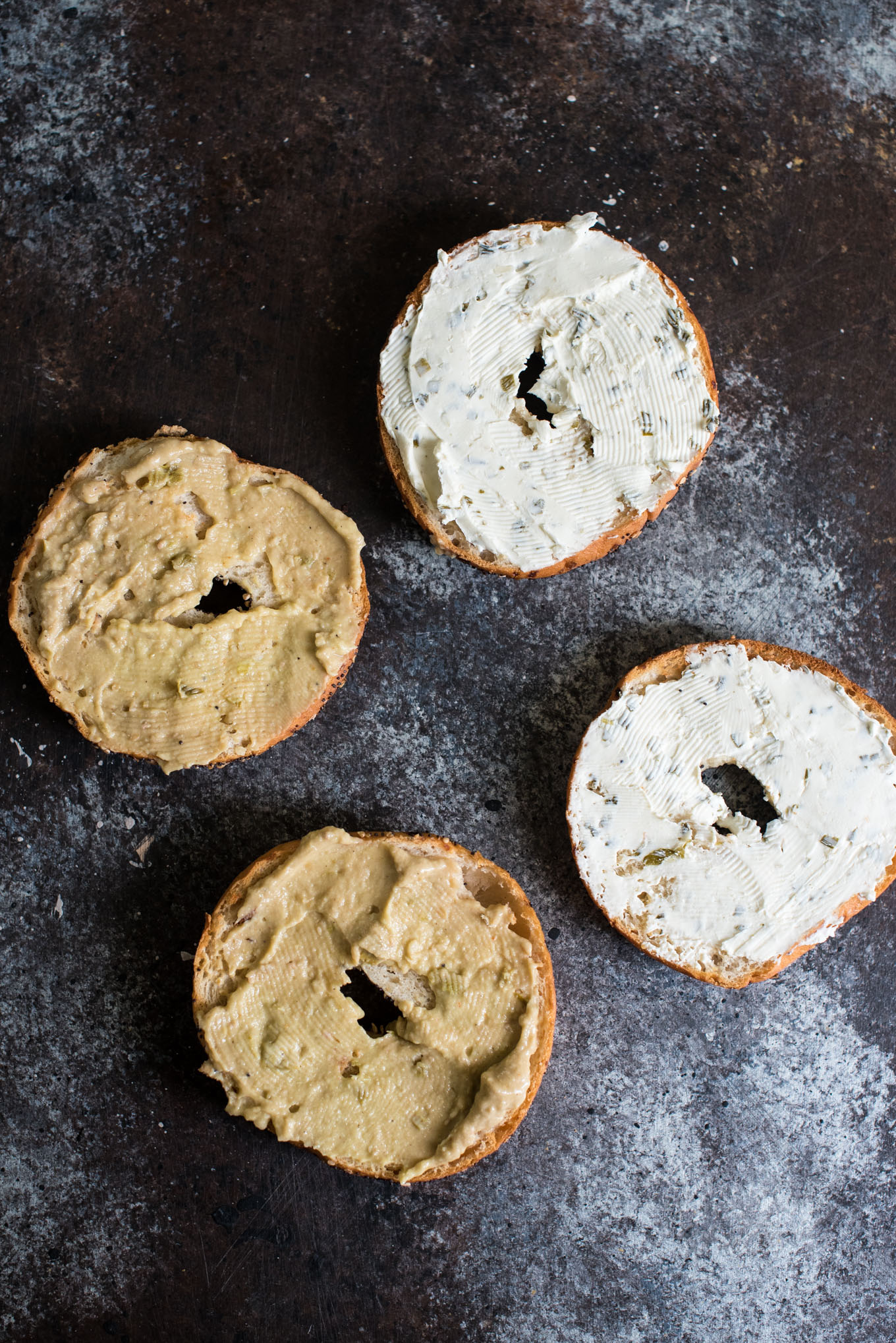 Bagels with hummus and cream cheese