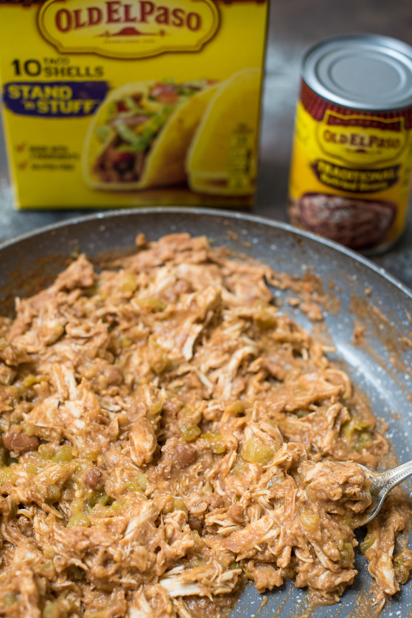 Skillet of shredded chicken and beans