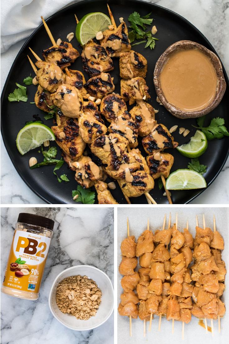 Collage of Chicken Satay, Raw chicken on skewers, PB2 peanut butter powder